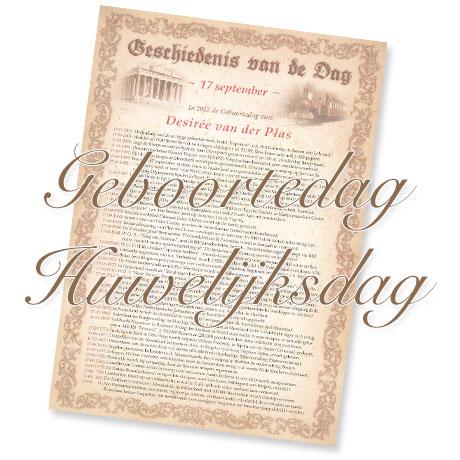 Geschiedenis van de Dag - Geboortedag, Huwelijksdag